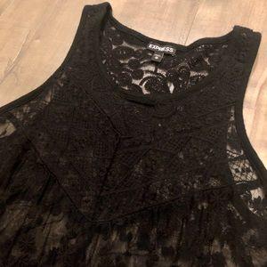 Express black lace babydoll tank top (XS)
